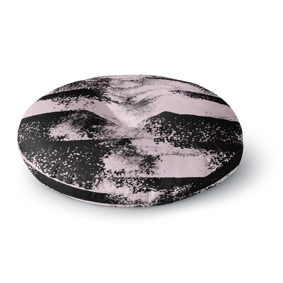 Vasare Nar Pink Black Abstract Painting Round Floor Pillow Size: 26 x 26