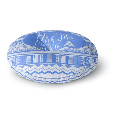 Vasare Nar Hakuna Matata Azure Blue Illustration Round Floor Pillow Size: 26 x 26