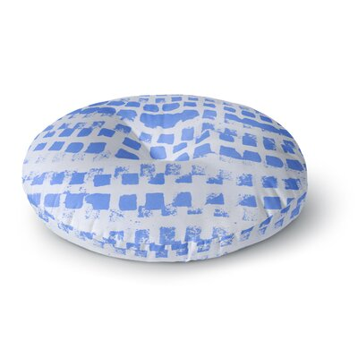 Vasare Nar Azure Blue Squares Illustration Round Floor Pillow Size: 23 x 23