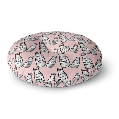 Vasare Nar Milk Pastel Pink Food Pop Art Round Floor Pillow Size: 23 x 23