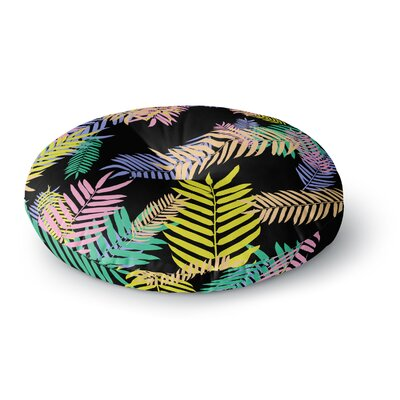 Vasare Nar Tropical Palm 90s Art Deco Floral Round Floor Pillow Size: 23 x 23