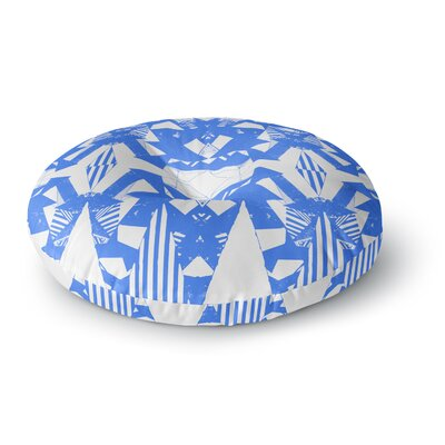 Vasare Nar Azure Geometric Art Deco Round Floor Pillow Size: 23 x 23