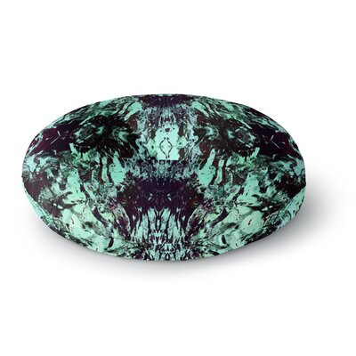 Vasare Nar Abstract Aqua Black Mixed Media Round Floor Pillow Size: 26 x 26