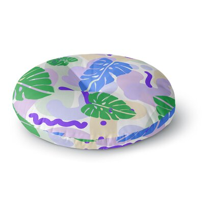 Vasare Nar Monstera Tropical Plant Digital Round Floor Pillow Size: 26 x 26
