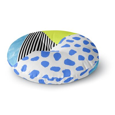 Vasare Nar Neon Stripe Pool Postmodern Mixed Media Round Floor Pillow Size: 26 x 26