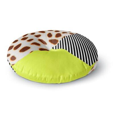 Vasare Nar Neon Cheetah Stripe Balance Mixed Media Round Floor Pillow Size: 23 x 23