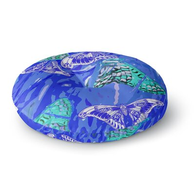 Vikki Salmela Butterflies Party Blues Round Floor Pillow Size: 23 x 23