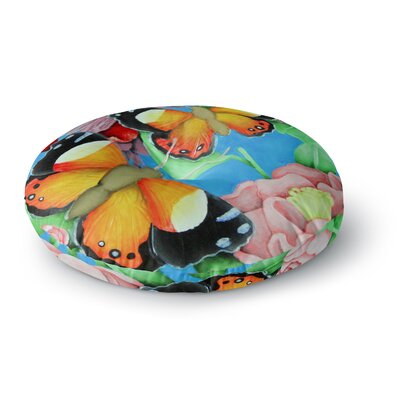 Vinny Thompson 'Yellow Admiral' Tropical Round Floor Pillow Size: 26