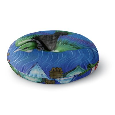 Vinny Thompson 'Tui Flying in Pacific Skies' Round Floor Pillow Size: 23