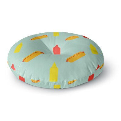 Will Wild 'Hot Dog Pattern' Food Round Floor Pillow Size: 26