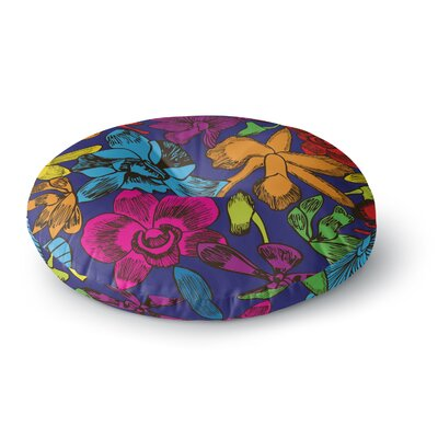 Yenty Jap 'Lovely Orchids' Floral Round Floor Pillow Size: 23