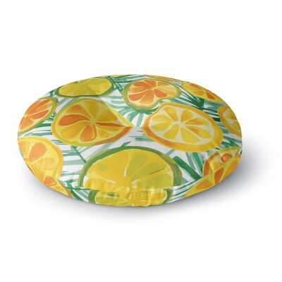 Yenty Jap Tropical Orange Slices Watercolor Round Floor Pillow Size: 23 x 23