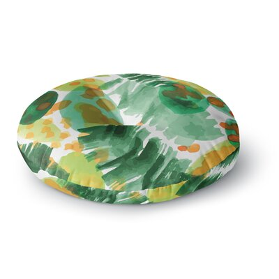 Yenty Jap Tropical Plants Leaves Watercolor Round Floor Pillow Size: 26 x 26