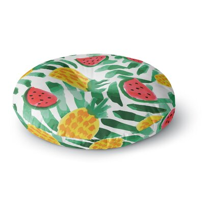 Yenty Jap Tropical Fruit Haven Watercolor Round Floor Pillow Size: 23 x 23