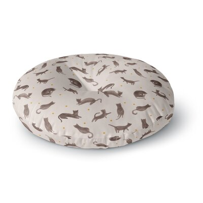 Yenty Jap Lazy Cats Day Watercolor Round Floor Pillow Size: 23 x 23