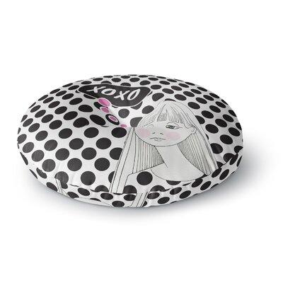 Zara Martina Mansen XOXO Pop Art Polka Dot Girl Round Floor Pillow Size: 26 x 26