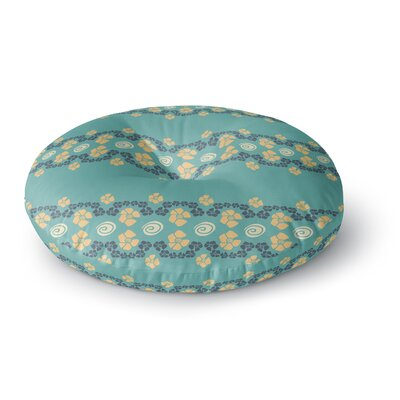 Zara Martina Mansen Teal Flora Formations Round Floor Pillow Size: 23 x 23