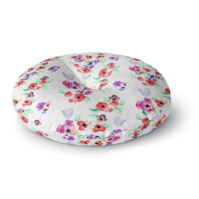 Zara Martina Mansen Spring Flowers and Birds Round Floor Pillow Size: 23 x 23