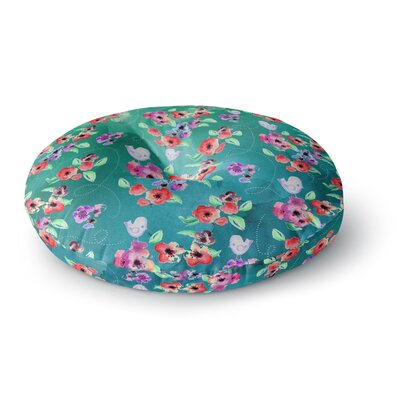Zara Martina Mansen Spring Birds on Teal Round Floor Pillow Size: 23 x 23