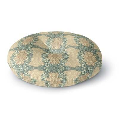 Mydeas Fancy Damask Antique Round Floor Pillow Size: 23 x 23, Color: Brown/Teal