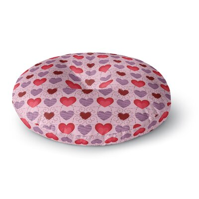 Mydeas Fancy Scribbled Hearts Pattern Vector Round Floor Pillow Size: 26 x 26