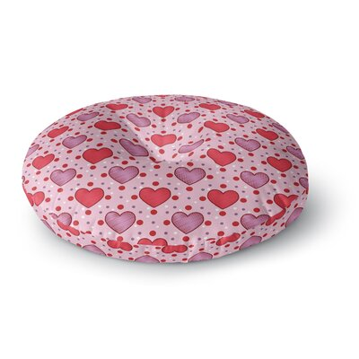 Mydeas Colo Candy Hearts Dotted Vector Round Floor Pillow Size: 23 x 23
