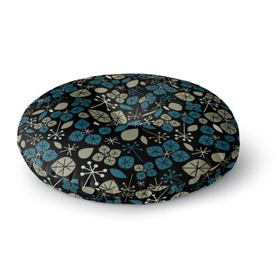 Allison Beilke Leaf Scatters Midnight Round Floor Pillow Size: 26 x 26