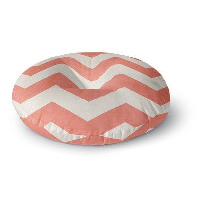 Ann Barnes Vintage Coral Chevron Round Floor Pillow Size: 23 x 23