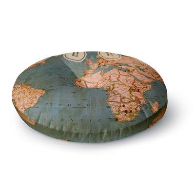 Ann Barnes Roam II World Map Round Floor Pillow Size: 26 x 26