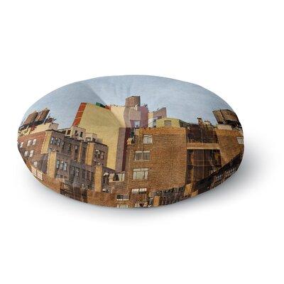 Ann Barnes Vintage NYC Cityscape Round Floor Pillow Size: 23 x 23