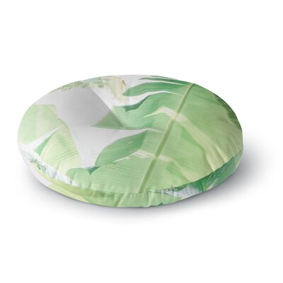 Ann Barnes Banana Leaf Photography Round Floor Pillow Size: 23 x 23, Color: Green/White