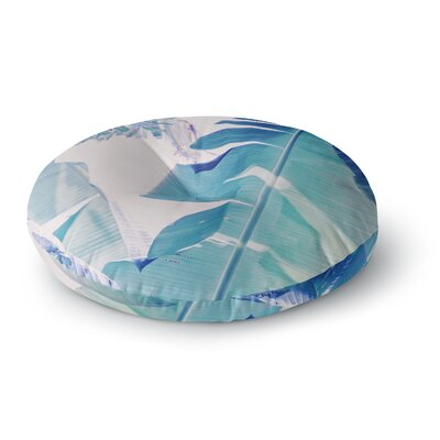 Ann Barnes Banana Leaf Photography Round Floor Pillow Size: 23 x 23, Color: Blue/Green