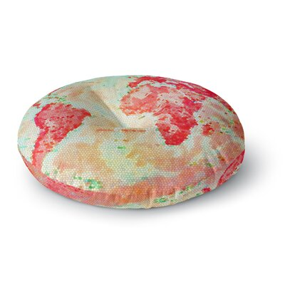 Alison Coxon Oh The Places Well Go World Map Round Floor Pillow Size: 26 x 26