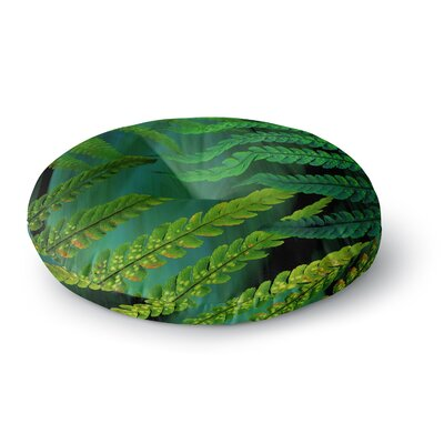 Alison Coxon Forest Fern Russet Round Floor Pillow Size: 26 x 26, Color: Green