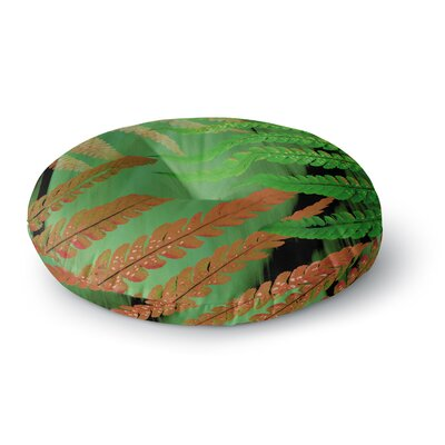 Alison Coxon Forest Fern Russet Round Floor Pillow Size: 26 x 26, Color: Green/Brown
