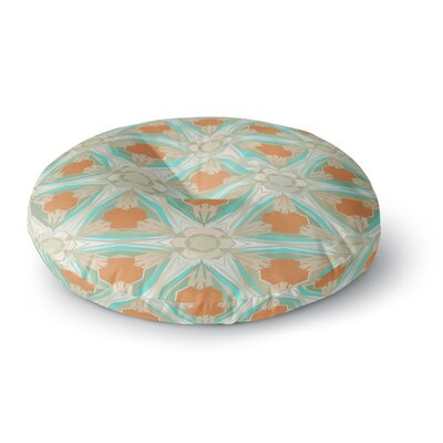 Alison Coxon Moorish Earth Round Floor Pillow Size: 26 x 26, Color: White/Teal