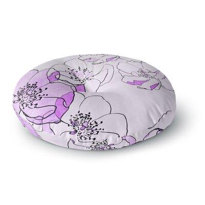 Alison Coxon Painted Wild Roses Round Floor Pillow Size: 26 x 26, Color: Purple