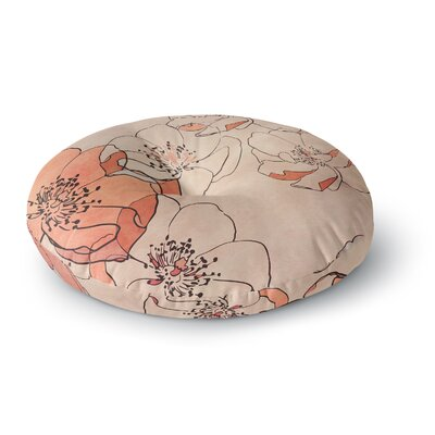 Alison Coxon Painted Wild Roses Round Floor Pillow Size: 26 x 26, Color: Coral