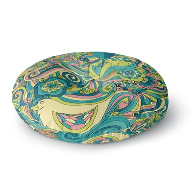 Alisa Drukman Birds in Garden Round Floor Pillow Size: 26 x 26, Color: Blue/Yellow