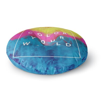 Galaxy Eyes Color Your World Rainbow Paint Round Floor Pillow Size: 26 x 26