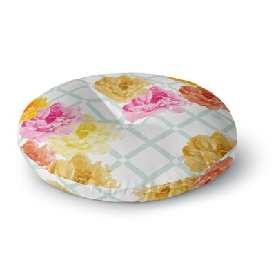 Pellerina Design Trellis Peonies Flowers Round Floor Pillow Size: 23 x 23
