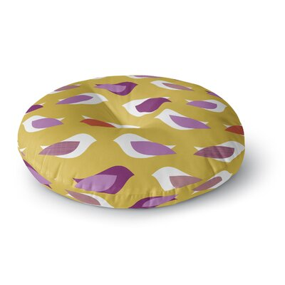 Pellerina Design Golden Orchid Birds Round Floor Pillow Size: 26