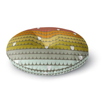 Pellerina Design Scallops Round Floor Pillow Size: 23 x 23, Color: Red/Orange