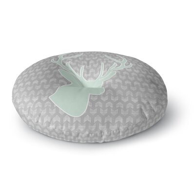 Pellerina Design Winter Deer Round Floor Pillow Size: 26 x 26, Color: Gray/Green