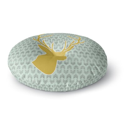 Pellerina Design Winter Deer Round Floor Pillow Size: 23 x 23, Color: Yellow/Green