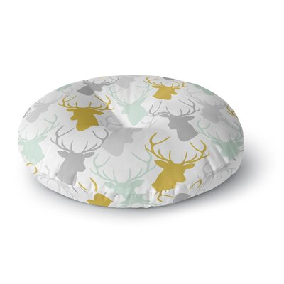 Pellerina Design Scatter Deer Round Floor Pillow Size: 26 x 26, Color: Silver