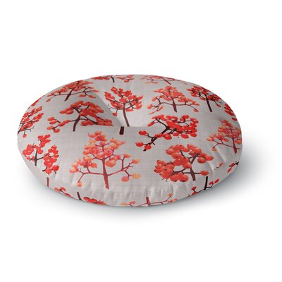 Pallerina Design Holiday Berry Twigs Floral Nature Round Floor Pillow Size: 23 x 23
