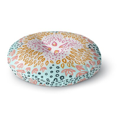Pellerina Design Fresh Spring Flower Burst Round Floor Pillow Size: 26 x 26, Color: Pink/Aqua