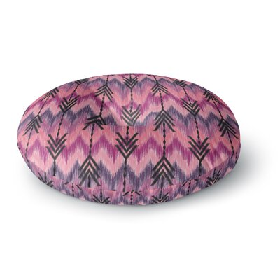 Amanda Lane Indigo Orchid Chevron Arrows Round Floor Pillow Size: 23 x 23