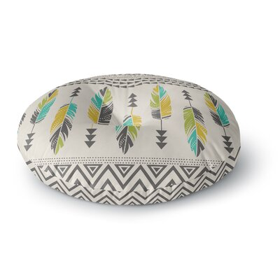 Amanda Lane Painted Feathers Tribal Round Floor Pillow Size: 23 x 23, Color: Tan